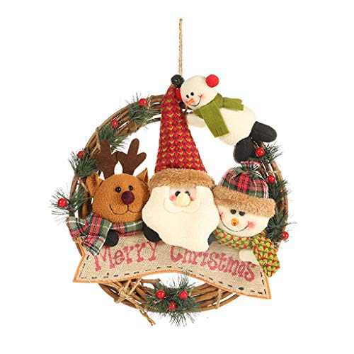Sale!! Armfer-household supply Christmas Wreath Decorations Crafts Santa Deer Snowman Rattan Garland...