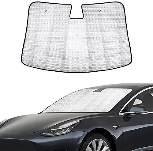 QREAEDZ Coche Parabrisas Sombrilla Automoción Ventana Delantera Bloque de Sol Accesorios Reflectantes Sunvisor Protector Parasol/Fit para Tesla Modelo 3 (Color : Windshield Sunshade)