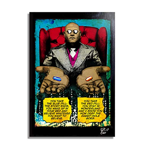 Morpheus aus The Matrix Film (1999, Wachowsky) - Original Gerahmt Fine Art Malerei, Pop-Art, Poster, Leinwand, Artwork, Film Plakat, Leinwanddruck