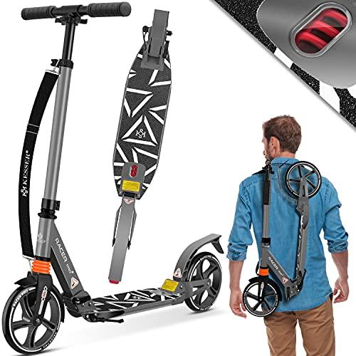 KESSER® Cityroller Scooter 205mm Räder PU Big Wheel - Pro-S Tretroller mit Doppel Federung, City-Roller Scooter klappbar und Höhenverstellbar, Roller Kickscooter für Erwachsene und Kinder, Grau