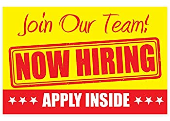 """NOW HIRING Apply Inside Sign – PVC size 11"""" x 17"""" Unique Design - for Business Store Window 