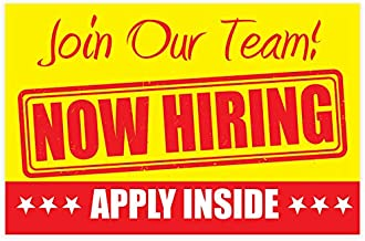 """NOW HIRING Apply Inside Sign – PVC size 11"""" x 17"""" Unique Design - for Business, Store Window 