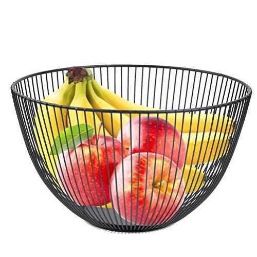 CENBEN Canasta de Frutas, Canasta de Frutas, Canasta de Hierro Hueco, Canasta de Frutas Negra Vintage Multifuncional para Decoración de Encimeras y Almacenamiento de Frutas (25x14cm)