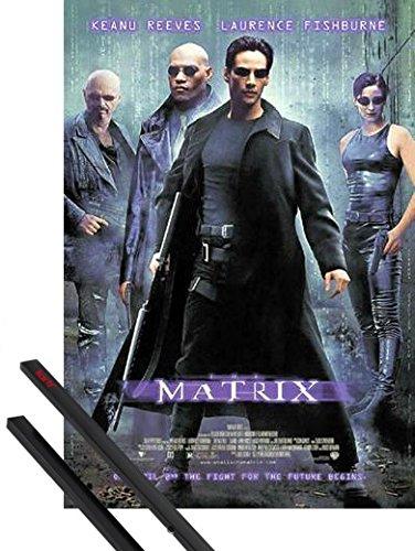 1art1 Matrix Póster (98x68 cm) Keanu Reeves, Laurence Fishburne Y 1 Lote De 2 Varillas Negras