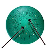 VIVOHOME 13 Notes 12 Inches Steel Tongue Drum Set C Key with Travel Bag, Mallets, Music Book, Finger Picks Percussion Instrument for Yoga Meditation Musical Education Entertainment Concert Green
