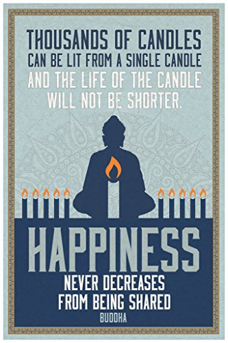 Thousands of Candles Happiness Famous Motivational Inspirational Quote Buddha Cool Wall Decor Art Print Poster 12x18