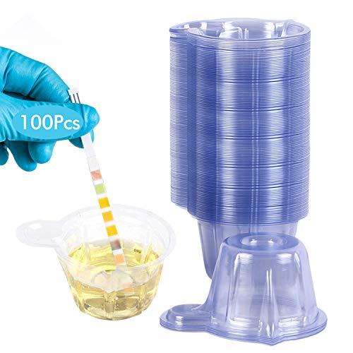 Wandefol 100 Stück Urinprobenbecher, 50ml Einweg-Urinprobenbecher aus Kunststoff für Ovulationstest Schwangerschaftstest PH-Test Klar
