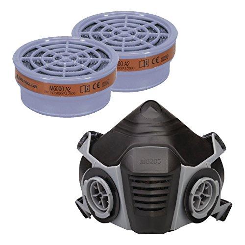 Semimascara de Termoplástico: M6200 JUPITER + 2 x Filtros: M6000 A2 - Color: Negro/Gris