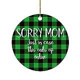 Sorry Mom Just in Case This Ends Up Online 2021 Adorno de Navidad, único recuerdo colgante de porcelana para decoración del árbol de Navidad, regalos para familiares y amigos, regalo de Navidad