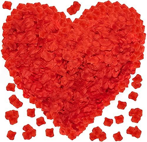 OWLKELA 3000 Stück Rote Rosenblätter, Künstliche Rosenblätter, Rosenblätter - Valentinstag, Hochzeit, Taufe, Geburtstag, Romantische Atmosphäre