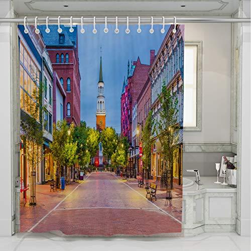 BEISISS USA Shower Curtain,Burlington,Vermont,USA at Church Street Marketplace,Photo Art Fabric Bathroom Decor Set with Hooks,66Wx72L