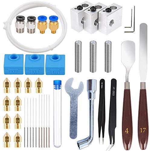 DollaTek 42Pcs Kit de accesorios para impresora 3d, boquillas + bloques calefactores + tubos de garganta + calcetines de silicona + agujas de limpieza + otras compatibles con la impresora 3d mk8