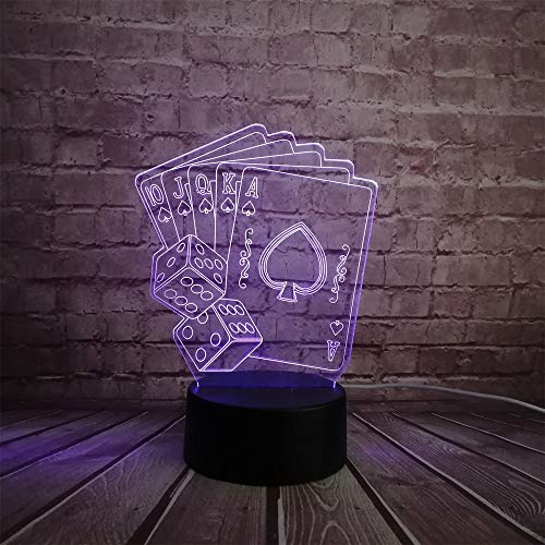 Creative 3D USB LED Card Magician Decoration Lamp with Poker Dice 7 Color RC Night Lights with Color Change for Christmas