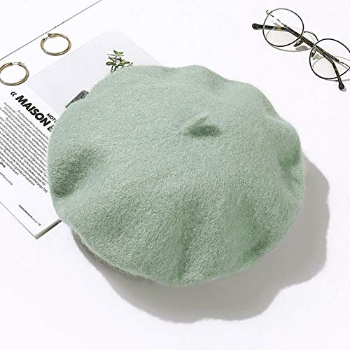 HOVYGB Sombrero De Boina para Mujer Moda Color Sólido Sombreros De Boina De Invierno Mujer Chica Boinas Verde Menta