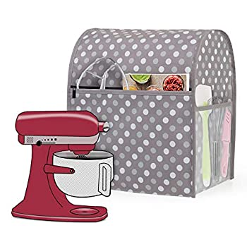 Luxja Dust Cover Compatible with 6-8 Quart KitchenAid Mixers Dust Cover with Cloudy side Pockets for 6-8 Quart Stand Mixers and Extra Accessories Gray Dots