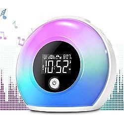 Wake Up Light Alarm Clock with Bluetooth Speaker Uplayteck, Kids Night Light Alarm Clock, 4 Level Brightness & Colorful Light, Digital Alarm Clock for Kids, Teen, Bedroom