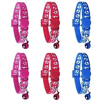 YHmall 6X Collier Chats Anti Étranglement Chatons Chiots Réglable Réfléchissant avec Clochette et Boucle de Sécurité, Fourniture d'animaux Domestique Multicolore Mignon (A6)