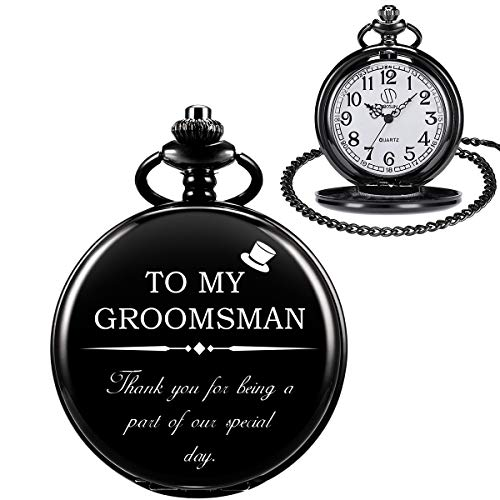 Orologio da Tasca Inciso per Matrimonio,Orologio da Tasca per Groomsman/Best Man/Groom con Catena Staccabile,Orologi da Tasca Vintage Meccanici al Quarzo SIBOSUN,Confezione Regalo per Uomo-Nero