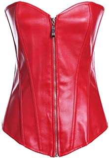 Women's Sexy Lace Up Push Up Shapewear Faux Leather Zipper Bustier Waist Training Body Shaper Corset (Color : Red, Size : ...