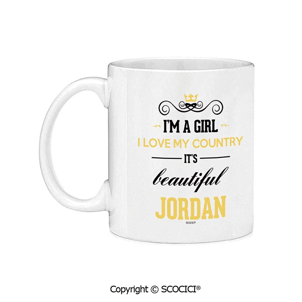 SCOCICI Novelty Ceramic Coffee Mug Tea Cup Gift I Am A Girl I Love My Country It Is Beautiful Jordan Unique Gift Idea on Any Occasion 11oz
