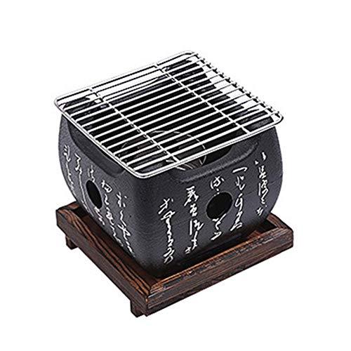 Mini Carbón Barbacoa Parrilla, Mesa Portátil Top Japonés Barbacoa Parrilla Comida Carbón Estufa Con Madera Maciza Bandeja, Accesorios de Fiesta Doméstico Barbacoa Herramientas Para Kabob Yakitori