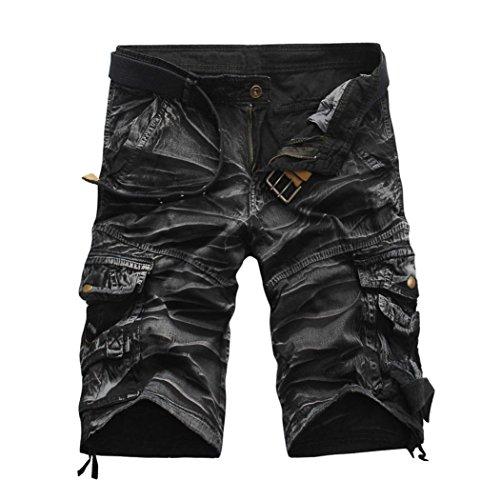 KPILP Sommer Herren Arbeiten Sie zufällige Taschen Strand Arbeits zufällige Kurze Hosenkurze Hosen der Männer um Jeans Hose (Grau,32)