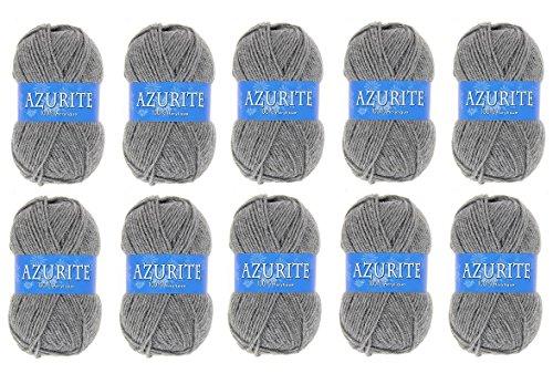 les colis noirs lcn Lot 10 Pelote de Laine Azurite 100% Acrylique Tricot Crochet Tricoter - Gris - 3074