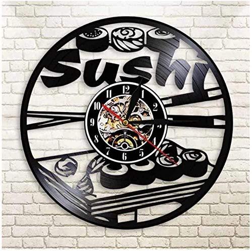 jjyyy Sushi Roll Vinilo Reloj de Pared Disco de Vinilo Reloj de Pared 30 cm de diámetro Arte Reloj de Pared niños niñas y Amigos