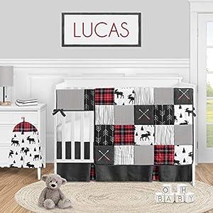 Sweet Jojo Designs Woodland Plaid Arrow Baby Boy Nursery Crib Bedding Set – 5 Pieces – Red and Black Moose Rustic Patch