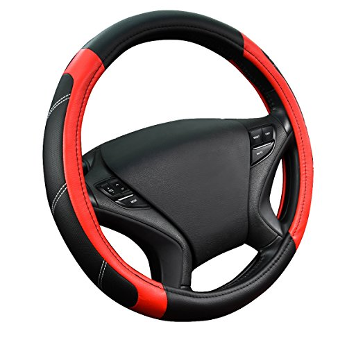 red and grey steering wheel cover - 4