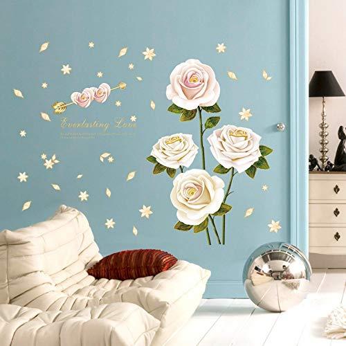 Zemn Kreative Weiße Rose Schlafzimmer Wohnzimmer Kleiderschrank Arbeitszimmer Dekoration Wandaufkleber 60 * 90 cm