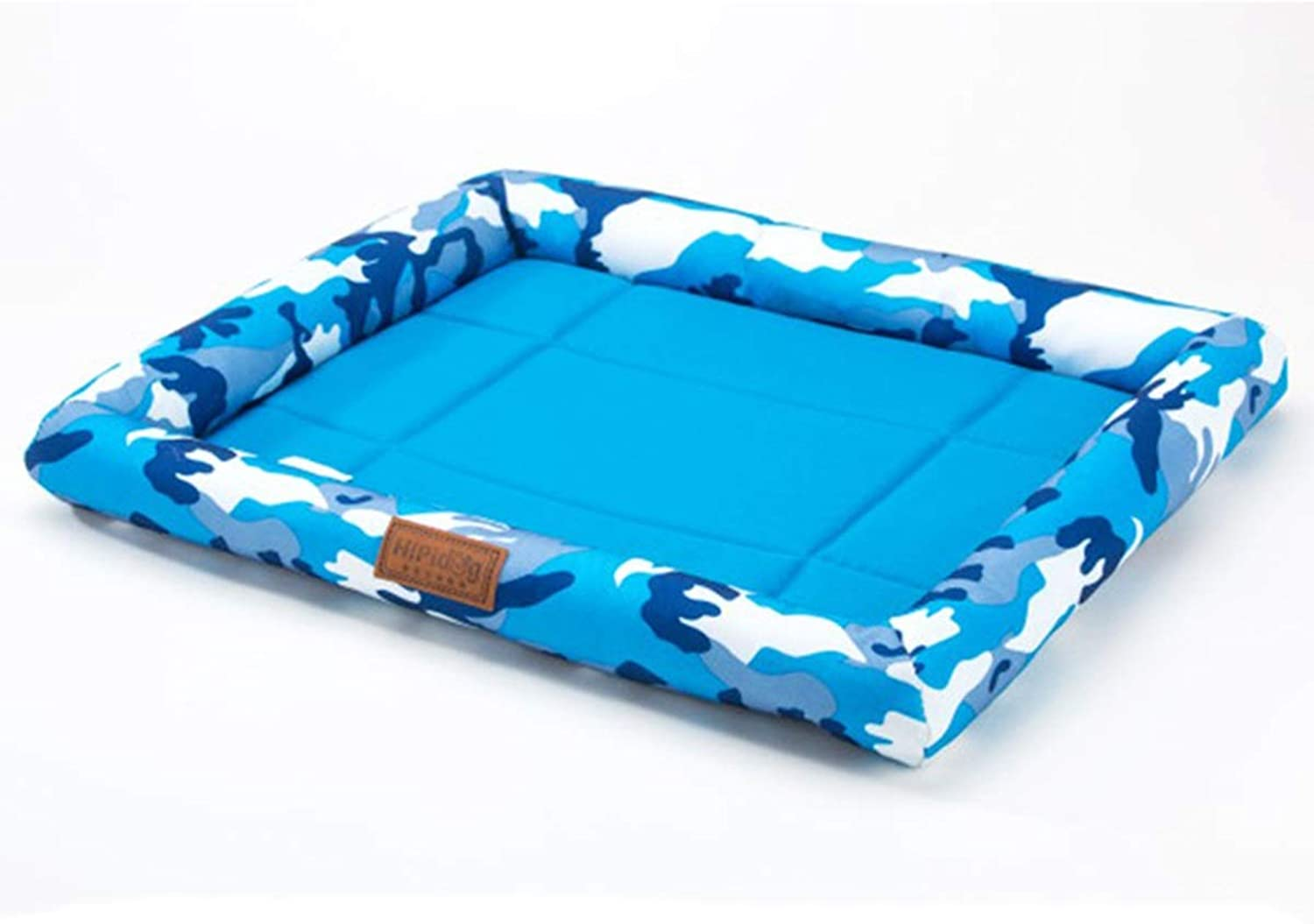 Kennel Summer Cool Nest, Small Dog Kennel, Summer Cool Mat Bed, Medium Dog Dog Pet Cat Litter, Four Seasons Universal, Dog Mat, Camouflage Print, 2 Optional (color   bluee, Size   L)