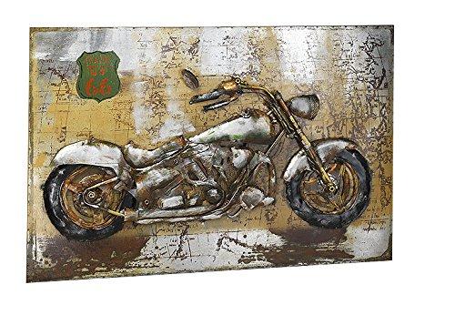 Kobolo Wandbild Wanddekoration Metallbild 3D-Bild - Route 66 Motorrad - 108x72 cm
