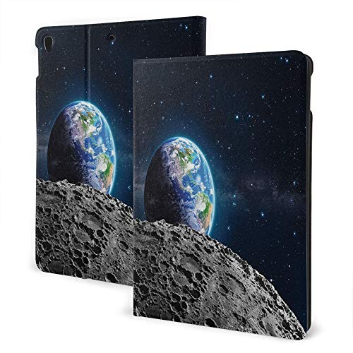 Case For Ipad 8/7 (10.2-Inch, 2020/2019 Model, 8th / 7th Generation), Ipad Air3 & Pro 10.5inch Print Theme - View Of Earth Globe From Moon Surface Out Space Dark Matter Galaxy Theme Grey Blue