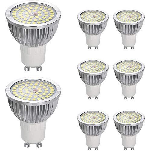 Vicloon Bombillas LED GU10, LED GU10 Lámpara 6W, 550LM, 120° Angulo de Haz, AC 85-240V, No-Regulable, 6500K Blanco GU10, Equivalente a Bombillas Halógenas de 60W, Pack de 8