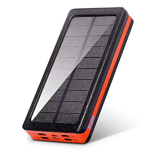 Solar Power Bank 30000Mah étanche 4 USB Portable LED Chargeur Solaire extérieur Lumière Solaire Banque pour Samsung Iphone Xiaomi,Orange