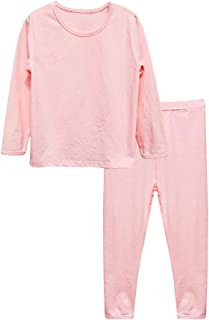 POBIDOBY Boy Girl Jammies Organic Cotton Little Kid 2 Piece Pajamas Set Solid Long Sleeve T-Shirt and Pants