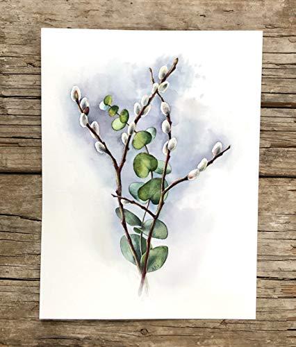 Original Aquarell Weidekätzchen und Eukalyptus, Wohnzimmer Bild, Ostern Illustration, Malerei, Geschenk Idee