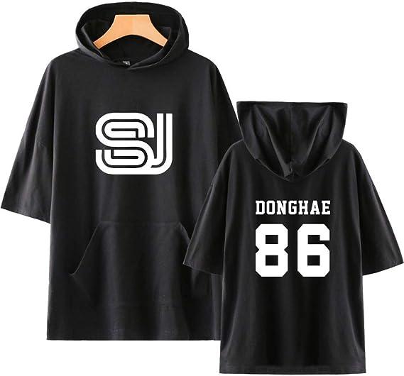 KPOP Super Junior Hoodies T Shirts Camiseta con Capucha de Manga Corta Impresión de Cartas Tops Shirts de Verano tee para Hombres y Mujeres HeeChul ...