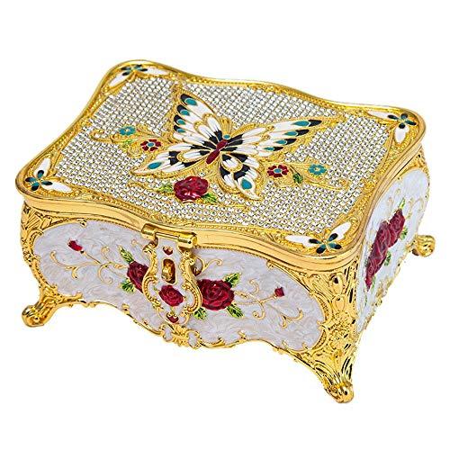 ReedG Caja de Joyería con la joyería del Estilo Europeo Espejo con Bloqueo Caja de Regalo de Corea Niña con Incrustaciones de Diamante de la Mariposa Vestir Caja de Almacenamiento para Mujeres