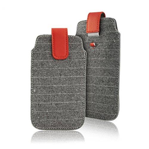 """Handytasche grau geeignet für """"Samsung Galaxy S7 Edge"""" Handy Schutz Hülle Slim Case Cover Etui mit Auszugband rot"""