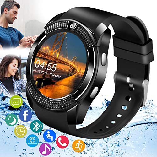 Smart Watch,Android Smartwatch Bluetooth Smart Watch for Android Phone with SIM Card Slot & Camera,Waterproof Text&Call Cell Phone Watch for Men Women