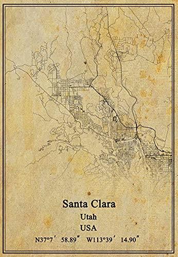 USA Utah Santa Clara mapa de pared arte póster lienzo impresión estilo vintage sin marco decoración regalo 45 x 60 cm