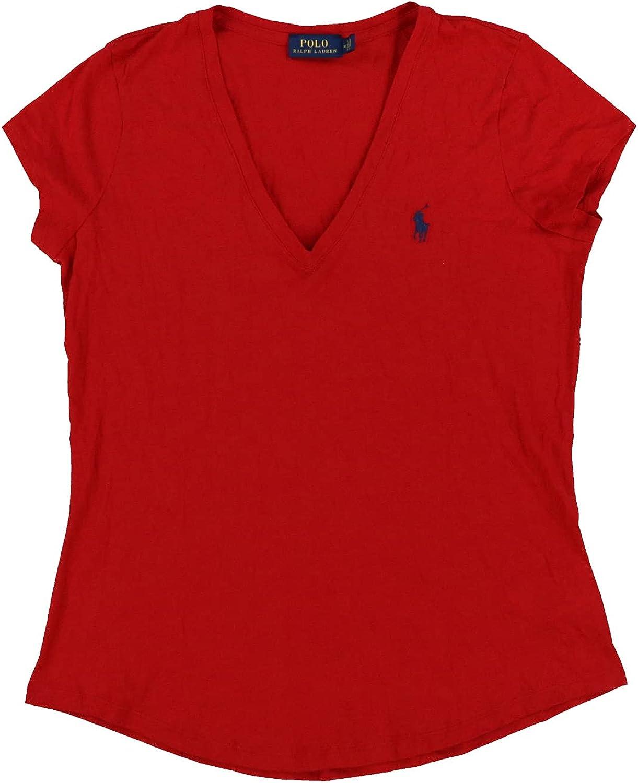 Polo Ralph Lauren Womens Rounded Hem V-Neck Jersey T-Shirt