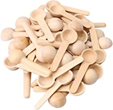 RDEXP Mini Nature Wooden Home Kitchen Cooking Spoons Tool Scooper Salt Seasoning Honey Coffee Spoons Set of 50