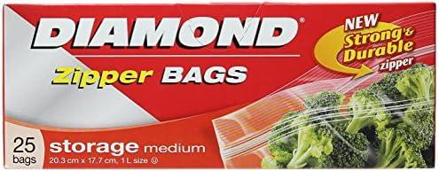 Diamond Storage Zipper Bags Medium, 25 Count, 20.3CM X 17.7CM