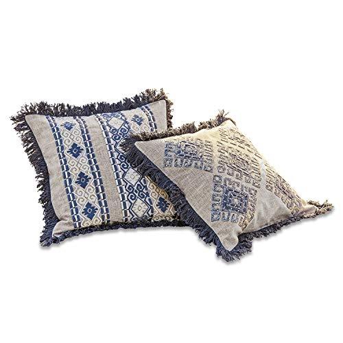Loberon Kissenhülle 2er Set Hénora, Polyester, Baumwolle, H/B ca. 40/40 cm, Outdoor, Gartenkissen, beige/blau