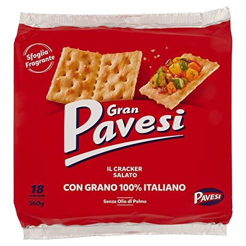 Gran Pavesi Cracker Salati I Classici, senza Olio di Palma, 18 Pacchetti, 560g