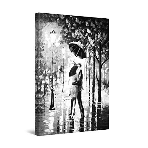Startonight Quadro su Tela Bianco e Nero Bacio sotto la Pioggia, Stampe Incorniciato e Pronta da Appendere Design Moderno Arredamento Arte Fotografia Grande Formato 60 x 90 CM