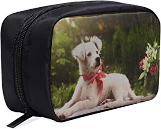 Lovely Dog And Tulip Bunch In Vase Portable Travel Makeup Cosmetic Bags Organizer Multifunction Case Small Toiletry Bags For Women And Men Brushes Case